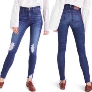 """Madewell 10"""" high rise deconstructed skinny jeans"""